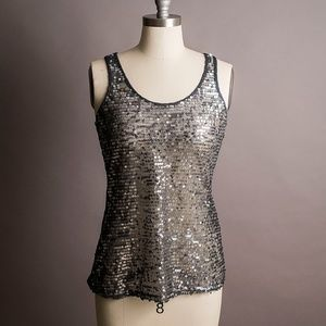 EUC Express gray sequined tank top—small